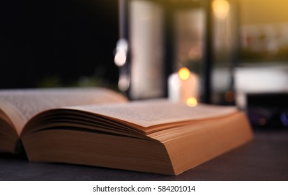 Close up view of open Bible on table