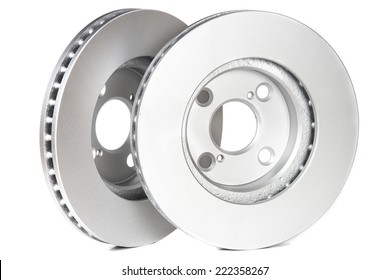 Close up view at pair of brake rotors, isolated on white