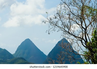 Close up view of the peak s of  pitons at southwestern coast of st. Lucia