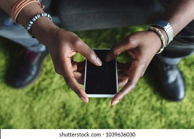 Close up view pf smartphone in male hands