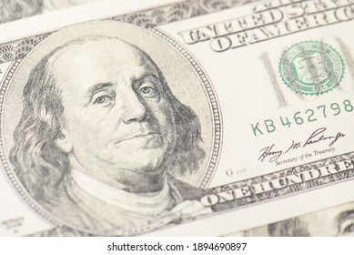 Close up view photo of american paper banknotes