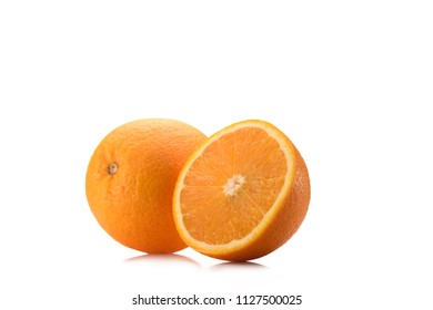 close up view of piece of orange and wholesome fruit isolated on white