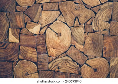 close up view of pieces of teak wood stump background