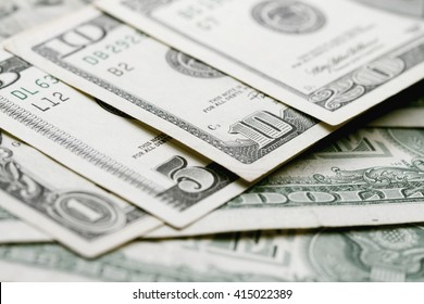Close up view of pile of dollars background