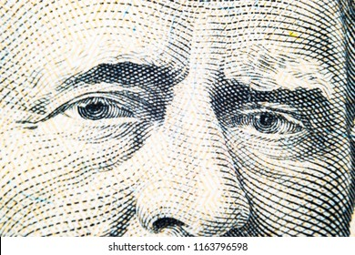 Close up view Portrait of Ulysses S. Grant on the one fifty dollar bill. Background of the money. 50 dollar bill with Ulysses S. Grant eyes macro shot. Money background. Face portrait