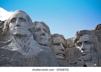close up view of Presidential Monument on Mount Rushmore in South Dakota