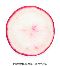 Close up view of radish slice isolated on white background