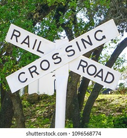 A close up view of a Railroad Crossing Sign