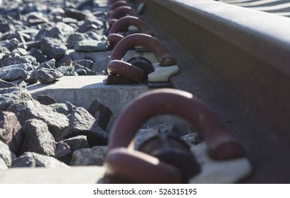 Close up view of railway bolt.selected focus