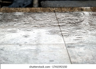 Close view of rain on the floor