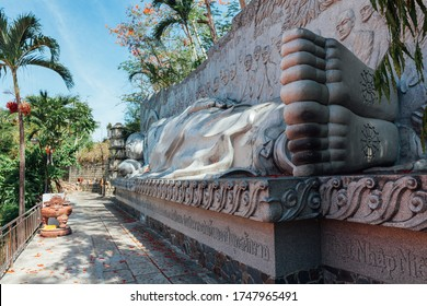 Close view of the reclining Buddha statue at the Long Son Pagoda, Nha Trang, Vietnam