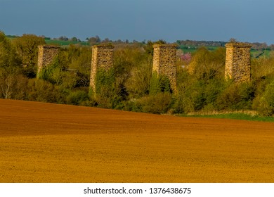 A close up view of the remains of the railway viaduct at Hook Norton, Oxfordshire, UK