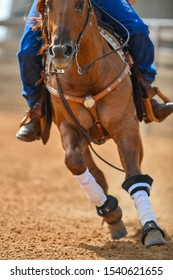 A close up view of a rider sliding the horse in the sand