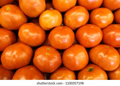 Close up view of ripe beefsteak tomatoes.