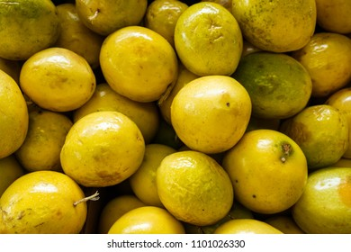 Close up view of ripe yellow passion fruit.