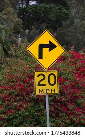 Close view of a road sign marking a sharp right curve with a 20 mph speed limit