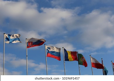 Close up view of a row of colorful flags fluttering in the blue sky. Many countries represented. White vertical thin poles. Symbol of the international community. Many flags waving in the wind.