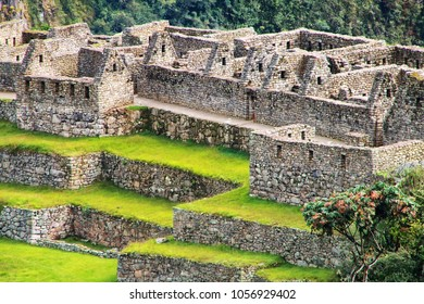 Close view of the ruins at Machu Picchu citadel in Peru. In 2007 Machu Picchu was voted one of the New Seven Wonders of the World.