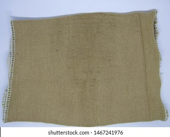 Close up view of sheets karung goni or Gunny sack with rough texture. gunny shoe or tow sack, inexpensive bag made of hessian burlap formed jute, hemp, natural fibers. Modern made man polypropylene