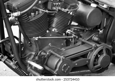 Close up view of a shiny motorcycle engine