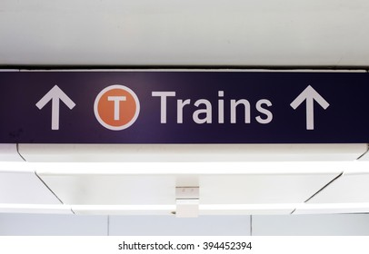 Close view of the sign for trains in Sydney