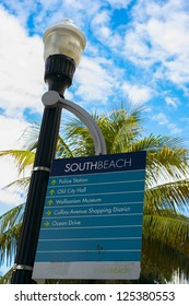 Close up view of a South Beach street sign in Miami Beach.