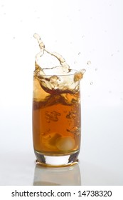 Close up view of the splash in ice tea