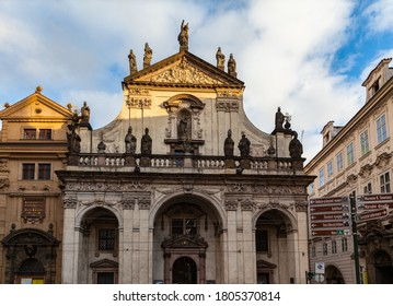 Close up view of St. Salvator Church close to Charles Bridge over Vltava river, one of two churches in the Klementinum in old town of Prague, Czech Republic