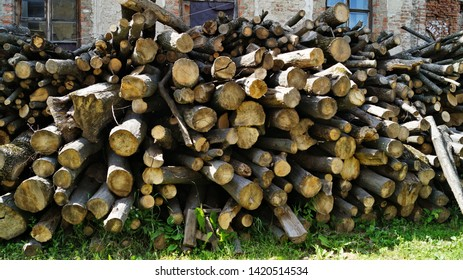 Close up view of a stack of firewood for the winter, stacks of firewood, piles of firewood, firewood background