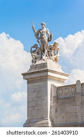 Close view of statue in front of Monumento nazionale a Vittorio Emanuele II, Rome, Italy