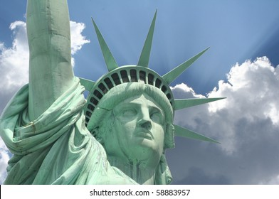 close up view of the Statue of Liberty