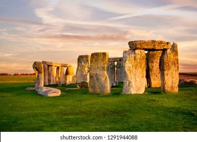 Close up view of Stonehenge monument. Sunset sky. United Kingdom.