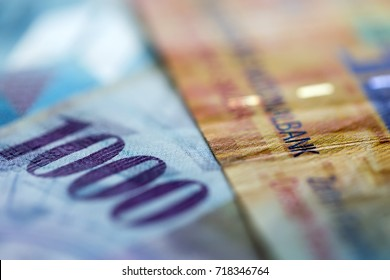 Close up view of Swiss francs banknotes