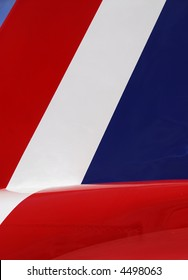A close up view of a tail from a Red Arrow Aeroplane