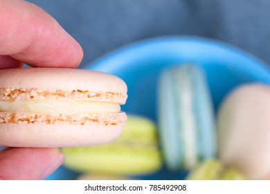 Close up view of tasty and yummy colorful  macarons.