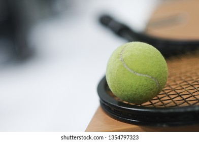 Close up view of tennis racket and balls. Selective focus