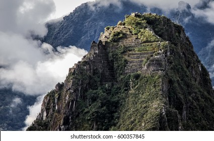 Close up view to top of Huayna Picchu with terraces, Machu Picchu, Unesco World Heritage site, Sacred Valley, Peru