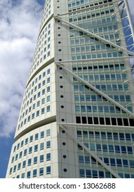 a close up view of the turning torso twisted tower block in malmo