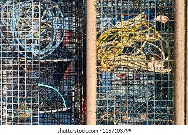 Close view of two lobster traps ready to be used with pot warps inside.