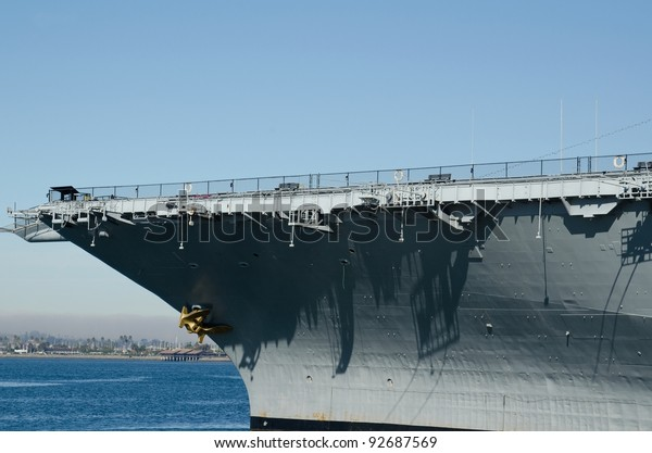 A close up view of the USS Midway, which is now a museum in San Diego,CA.