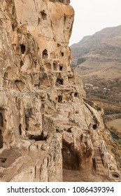 Close up view of Vardzia caves. Vardzia is a cave monastery site in southern Georgia, excavated from the slopes of the Erusheti Mountain on the left bank of the Kura River.