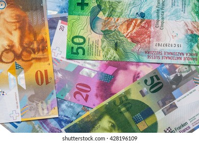 Close up view of various Swiss Franc Banknote as background including the new 50 CHF note released in 2016