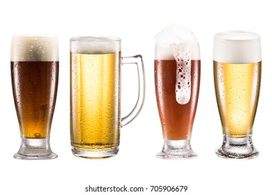 close up view of various types of fresh beer in glasses isolated on white