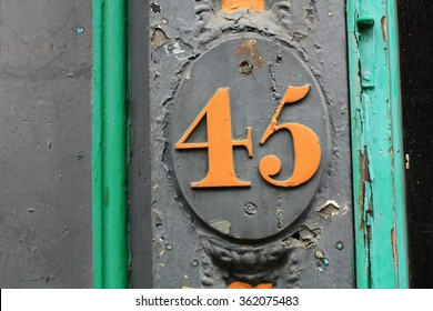 A close view of a very colorful number forty-five taken on a street in Philadelphia.