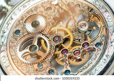 close view of a vintage beautiful watch mechanism