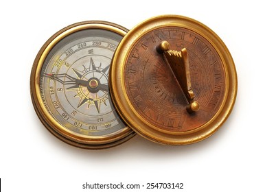 Close up view of vintage compass on white