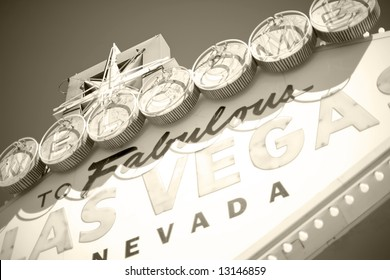 close view of vintage las vegas welcome sign