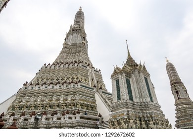 Close up view of Wat Arun main Prang. Wat Arun or temple of the dawn is a famous temple in Bangkok, Thailand