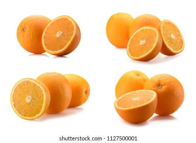 close up view of wholesome and cut oranges isolated on white