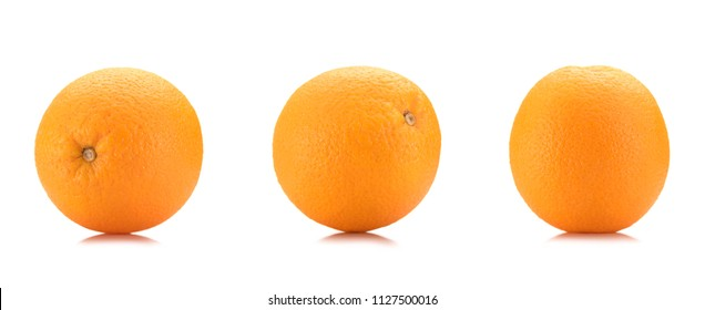 close up view of wholesome oranges isolated on white